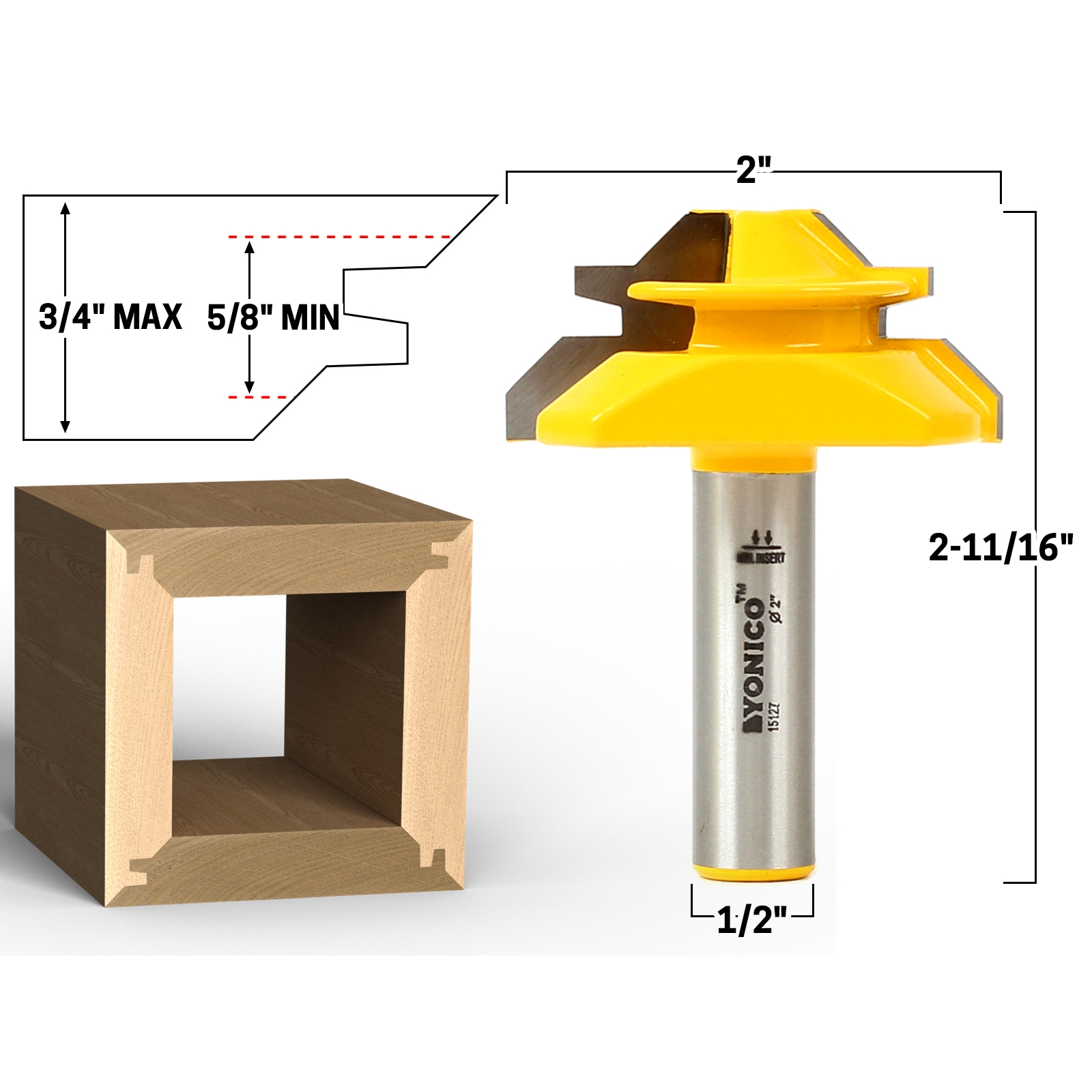 45 Degree Up To 3 4 Stock Lock Miter Router Bit 1 2 Shank