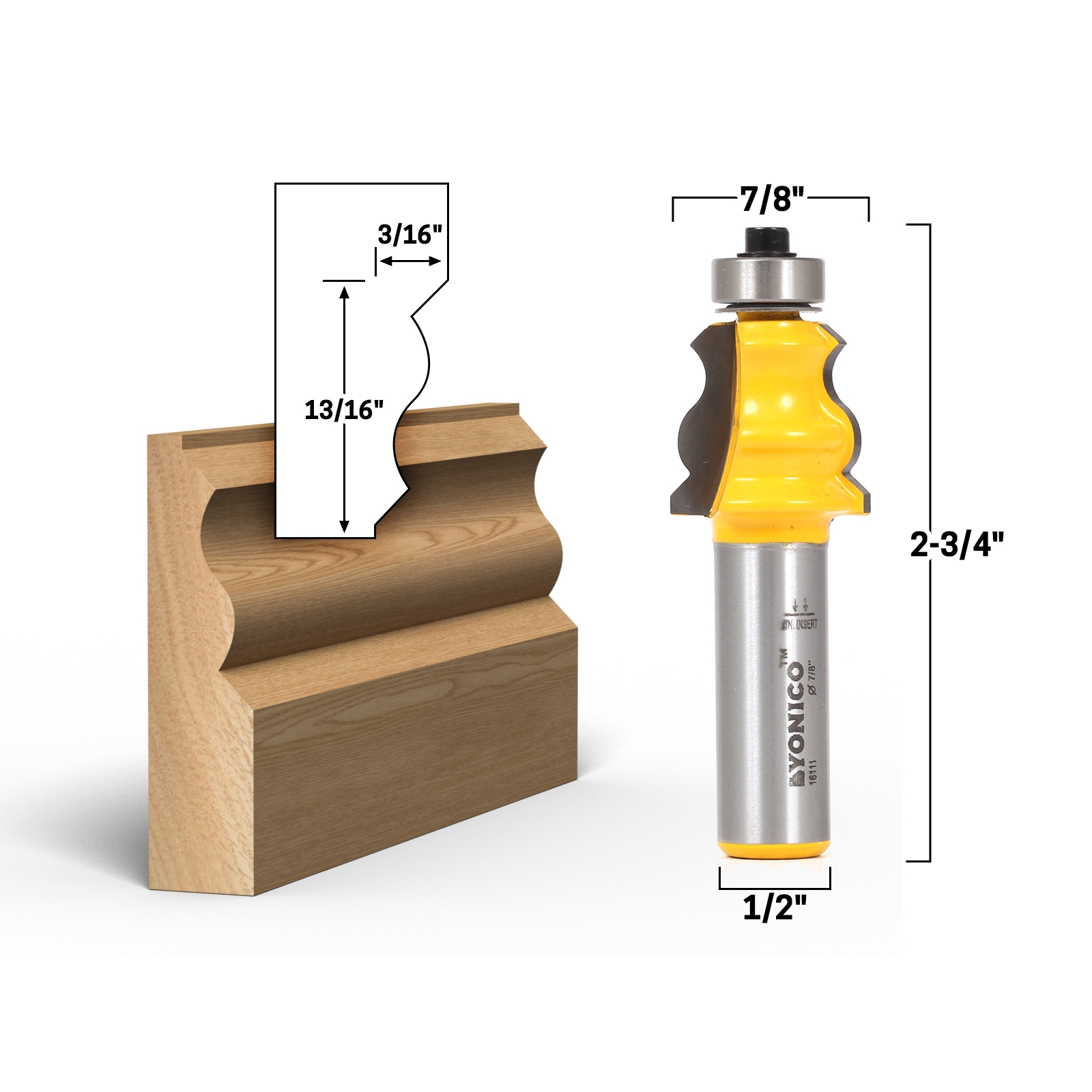 Small standard crown cap molding router bit 1 2 shank for Standard crown molding size