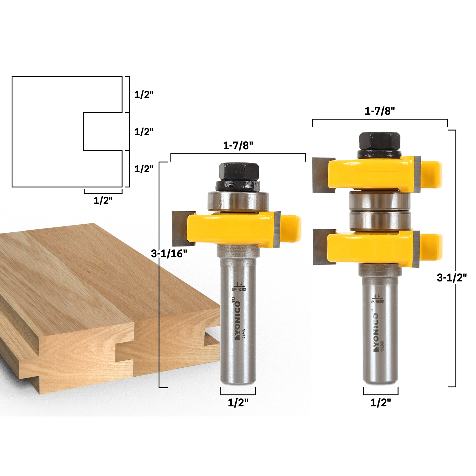 Joinery Tongue Groove Tongue Groove Router Bit Set 1 1 2
