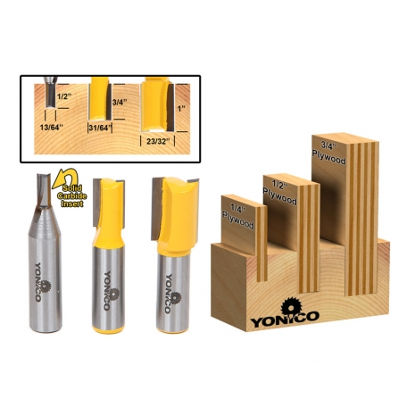 3 Bit Undersized Dado Router Bit Set For 3 4 Quot 1 2 Quot Amp 1 4