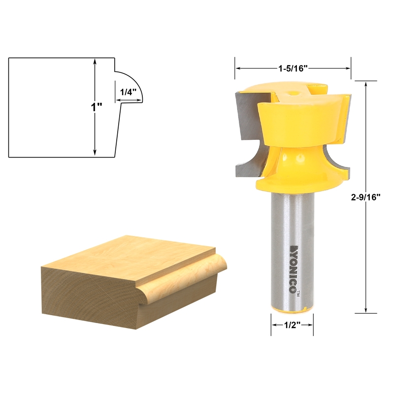 Cabinet Door Lip With Tapered Back Rabbet Router Bit - 1/2\\