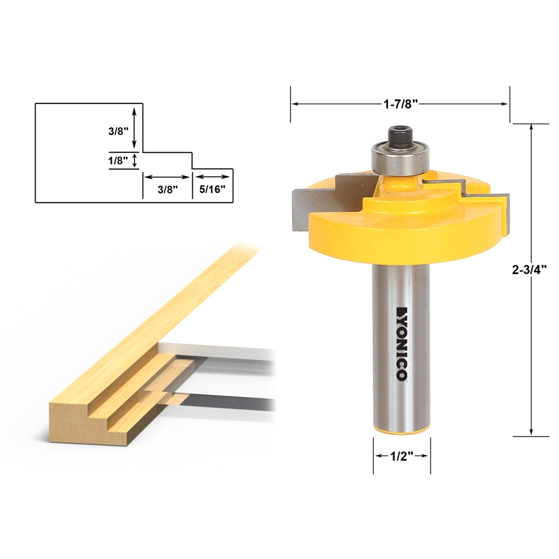 Stepped Rabbet Picture Frame Router Bit For Use With 18 Glass