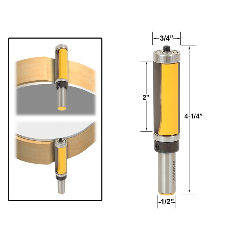 Template Trim Router Bit With 2 Long Routing Cutters Features Top Bottom Ball Bearings