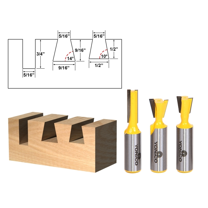 dovetail router bits. joinery :: dovetail 3 bit router set - 10° \u0026 14° with 5/16\ bits d