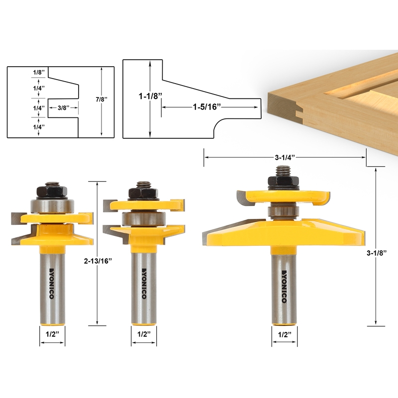 Router Bit Sets  Door \u0026 Window Sets  Shaker 3 Bit Raised Panel Cabinet Door Router Bit Set with Back-cutter Panel Raiser - 1/2\  Shank - Yonico 12350  sc 1 st  Precisionbits.com & Router Bit Sets :: Door \u0026 Window Sets :: Shaker 3 Bit Raised Panel ...