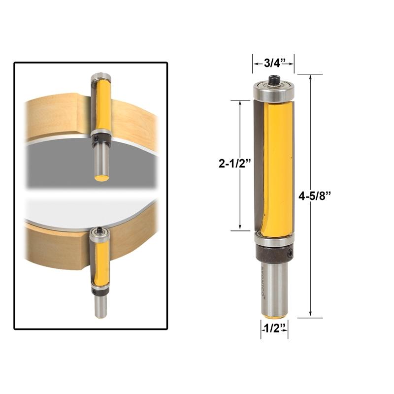 pattern flush trim router bit 2 1 2 cutter top bottom bearing