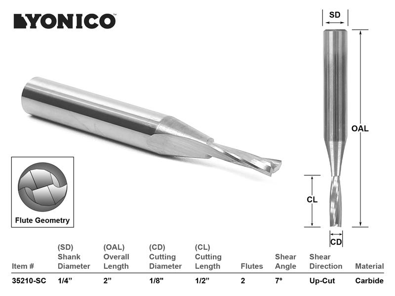 "1//4/"" Shank Yonico 35217-SC 1//4/"" Dia Low Helix Upcut End Mill CNC Router Bit"