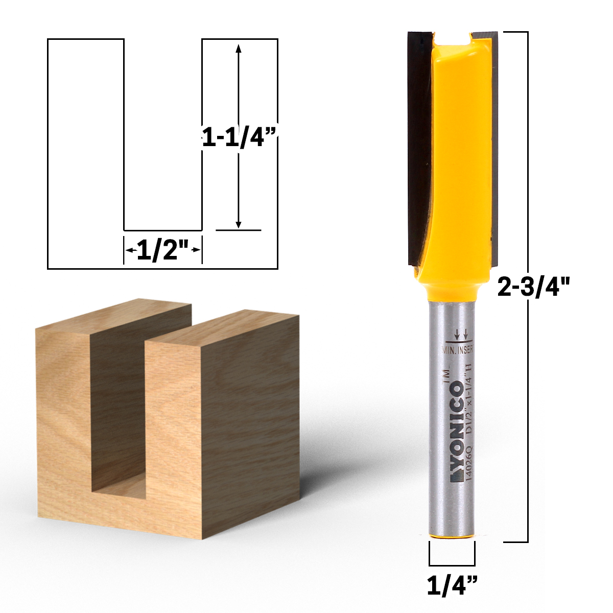 "STRAIGHT ROUTER BITS 1//4/"" SHANK"