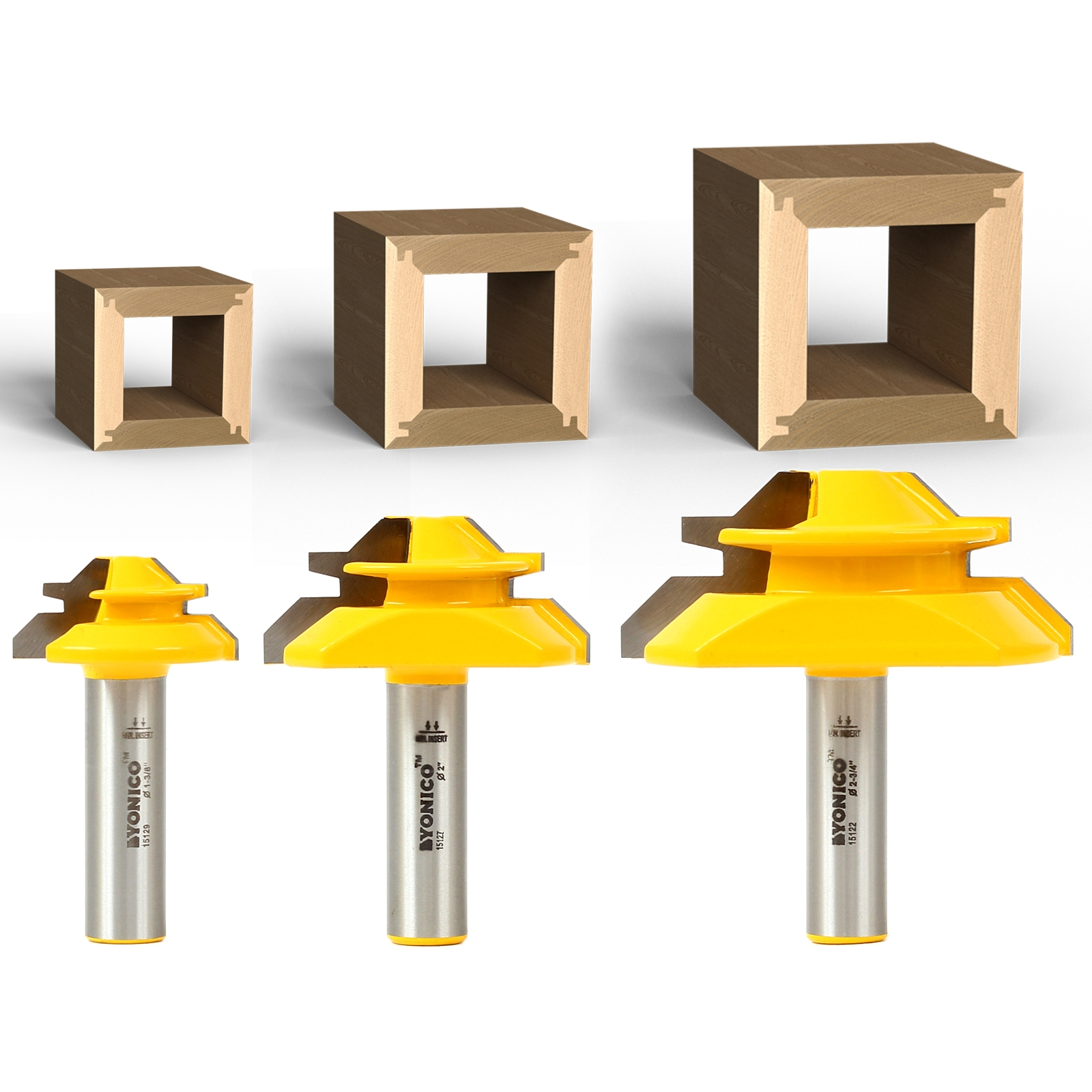 45 Degree Joint 1//2 inch shank router bit set For 1//2, 3//4, 1 board Lock Miter Woodworking Tools Set by Tooldo