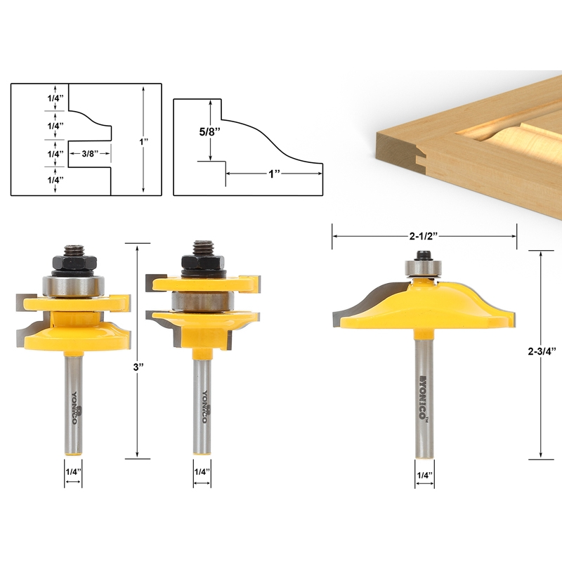 "Fresa giunzioni ante ø 1//4/"" ~6mm Shank Rail and Stile Router Bits Standard Ogee"
